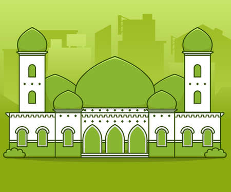 Green peaceful big grand mosque with minaret tower and green dome in middle city vector illustration cartoon style