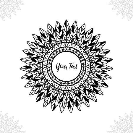 Abstract circle feather ethnic mandala in boho bohemian style vector 일러스트