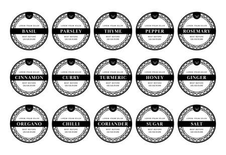 Kitchen pantry label seasoning sticker set in boho bohemian style