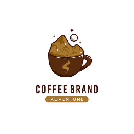 Coffee adventure logo with mountain illustration inside cup of coffee cafe