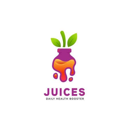 Juicy and healthy fruit pressed bottle juice inside purple bottle in liquid drip shape icon illustration