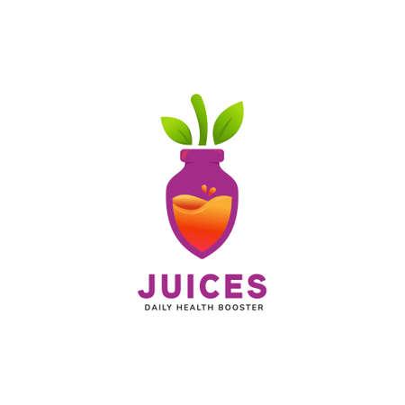 Juicy healthy fruit pressed purple beet fruit shape bottle juice logo