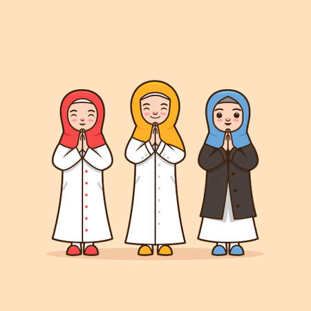 Set Female muslim character illustration with hijab scarf