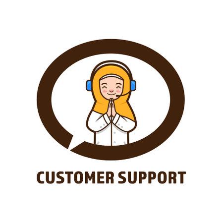 Muslim female customer support vector illustration