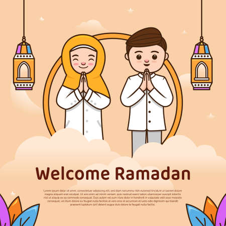 Welcome ramadhan holy month greeting with cute couple character illustration