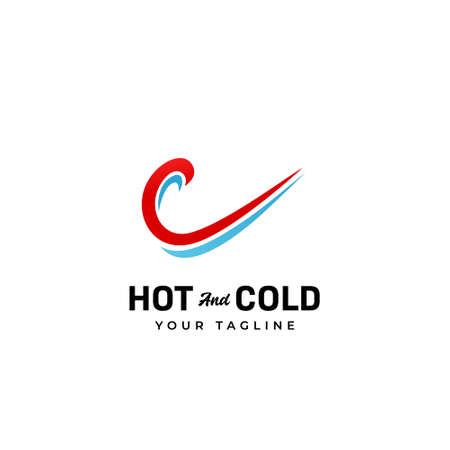 Hot and cold indoor air conditioner product and service logo with red and blue swoosh wind air icon 일러스트