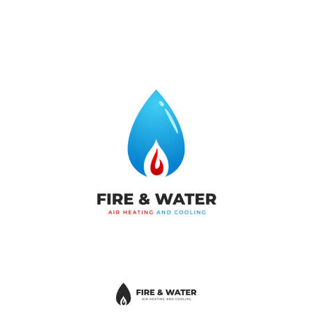 Fire and water drop logo, hot and cool conditioning logo icon symbol simple style