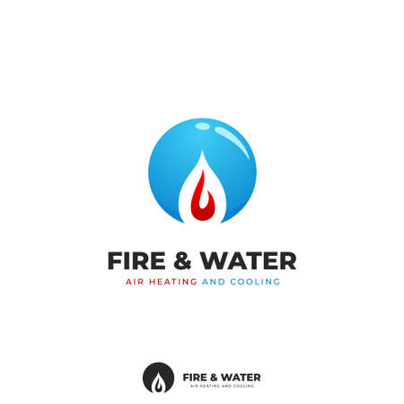 Fire and water home and commercial air conditioning product service logo