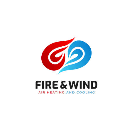 Fire and wind air conditioning heating and cooling product service logo icon