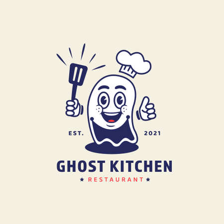 Ghost chef holding spatula mascot character illustration for ghost kitchen online restaurant concept logo in retro vintage cartoon style