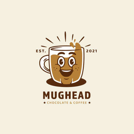 Mug cup head mascot character logo for chocolate and coffee cafe restaurant business logo icon in retro vintage cartoon style