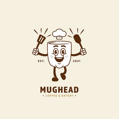 Mug cup head mascot character logo for coffee cafe eatery and restaurant business logo icon in retro vintage cartoon style
