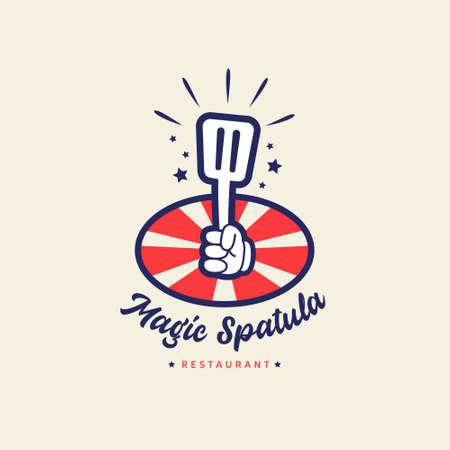 Magic spatula restaurant cafe bistro logo with hand holding magical spatula in cartoon retro vintage style badge icon 일러스트