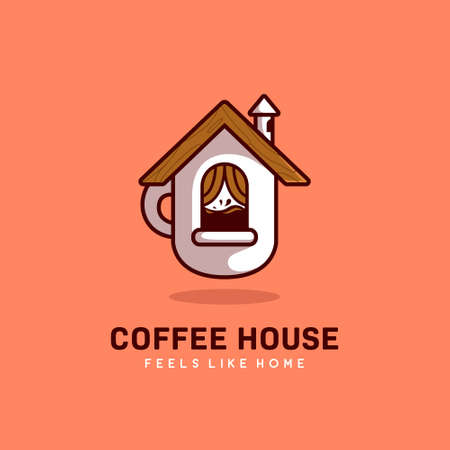 Coffee house hommy coffee cafe feels like home logo with cup in house shape icon illustration 일러스트