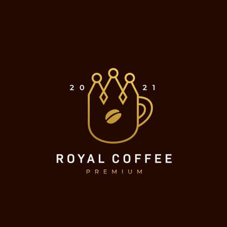 Royal coffee  , king coffee  , coffee cafe icon with crown shape mug