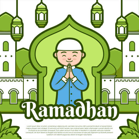Happy ramadhan kareen festival greeting banner illustration green color cartoon style with cute mosque, lantern and muslim character