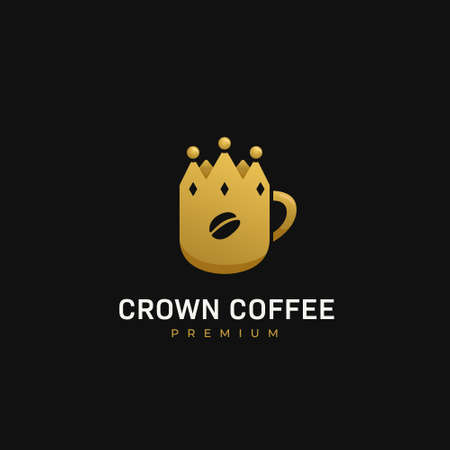 Crown coffee premium coffee cafe  with mug in king crown shape icon illustration