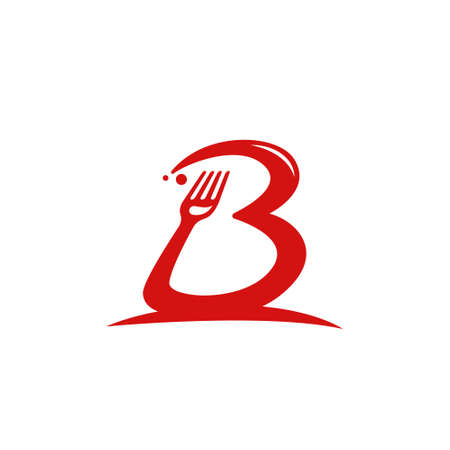 Letter B gourmet food restaurant catering with fork icon inside B