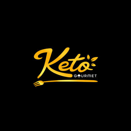 Keto Gourmet catering and restaurant manual hand lettering logo with fork icon in classic premium style 일러스트