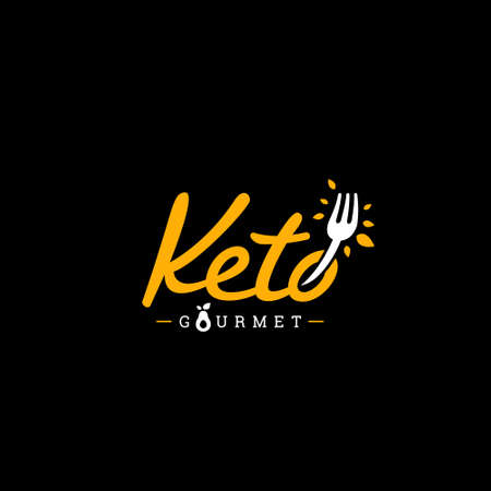 Keto Gourmet catering and restaurant manual hand lettering logo with fork icon