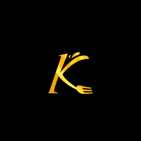Letter K with fork Food catering gourmet classic premium restaurant icon 일러스트