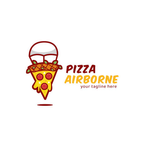 Pizza airborne illustration, slice of pizza parachuting icon for pizzeria business