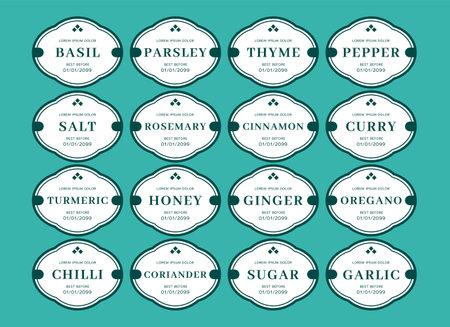 Kitchen seasoning jar label sticker classic vintage style set in tosca color