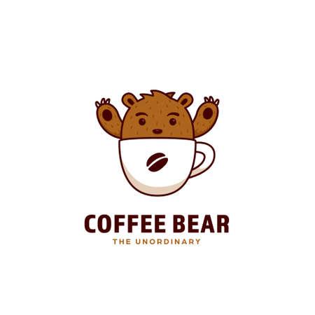 Coffee bear logo, a cute grizzly brown bear mascot inside coffee cup icon logo illustration cartoon style 일러스트