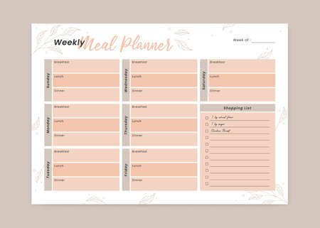 Weekly Menu Meal planner with breakfast, lunch, and dinner form schedule and shopping grocery list printable planner 일러스트