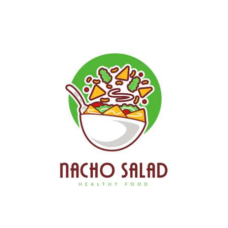 Fresh Taco nacho salad bowl logo in fun style logo illustration 일러스트