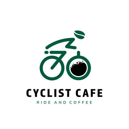 Cyclist coffee cafe logo with silhouete riding bicycle icon and coffee glass as wheel vector logo template