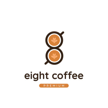 Number 8 coffee cafe logo with coffee latte cup in number 8 shape icon logo illustration template