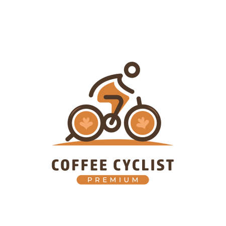 Coffee cyclist logo, bicycle rider cafe business logo template with coffee cup as bicycle wheel 矢量图像