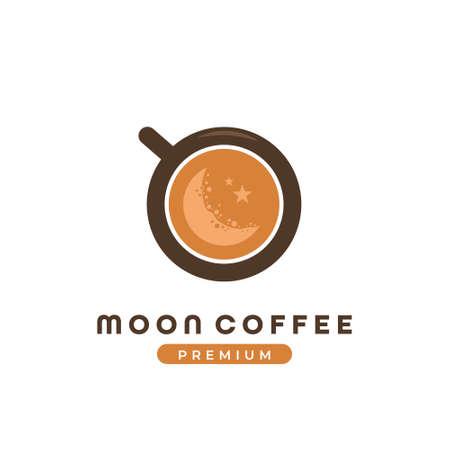 crescent moon coffee cafe logo, coffee shop logo template with moon inside coffee mug icon illustration