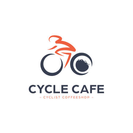 Bicycle coffee shop cafe logo with cyclist riding bike and coffee foam icon illustration logo 矢量图像