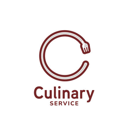 Letter C fork catering culinary logo icon template for restaurant business