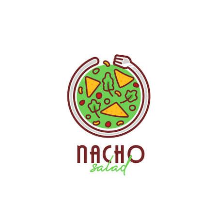 Nacho taco salad bowl logo, mexican culinary nacho salad bowl logo with circle shape fork icon illustration 矢量图像