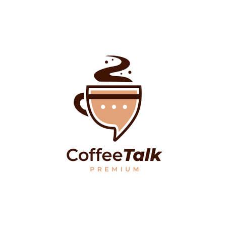 Fun coffee talk logo in mug shape and chat message bubble icon illustration 矢量图像