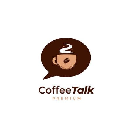 Vintage hot coffee talk podcast logo icon illustration