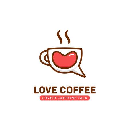 Love coffee talk logo, lovely cute coffee mug cup chat logo icon