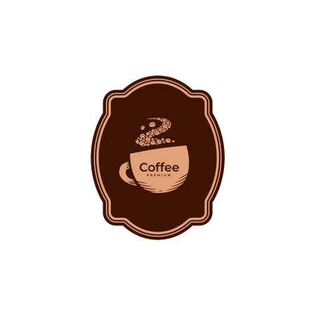 Hot Coffee mug badge logo icon in vintage classic simple style 矢量图像