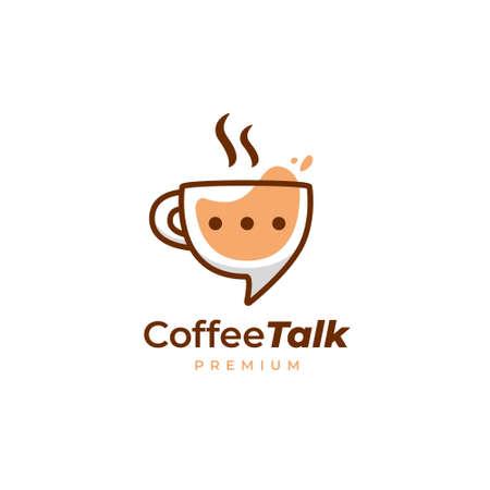 Coffee talk logo, coffee cup mug discussion logo icon in fun style