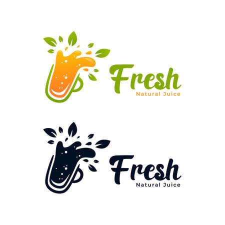 Slurpy natural fruit healthy juice bar logo icon with orange juice splash and green nature leaf