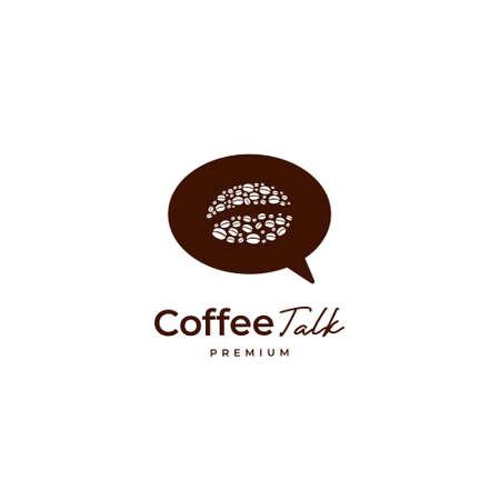 Coffee bean talk logo with bubble speak talk icon logo template 矢量图像