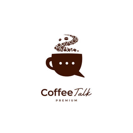 Premium coffee bean talk logo, brown coffee cup with bubble chat icon logo illustration 矢量图像
