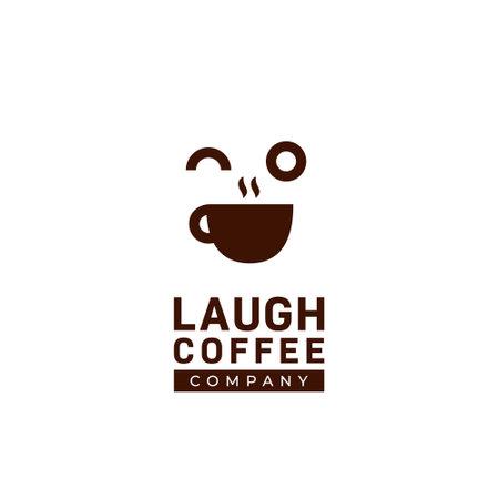 Happy fun laugh coffee shop logo, coffee cafe logo with big laugh smile face expression icon illustration concept vector 矢量图像
