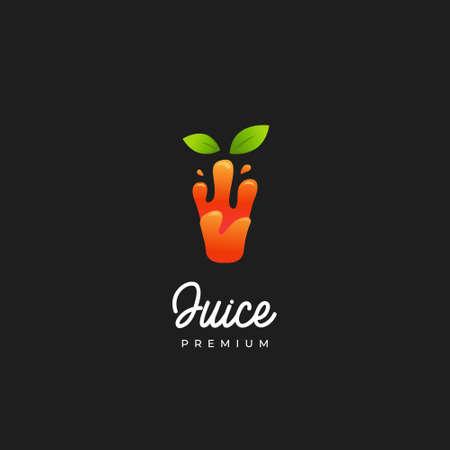Smoothie orange juice logo, healthy liquid slurpy orange color natural juice in glass shape icon logo 矢量图像