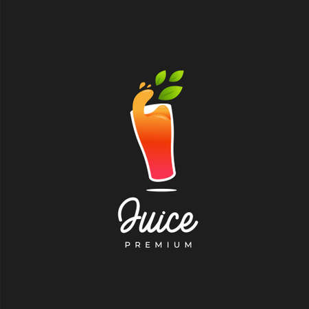 Premium orange juice in glass logo, orange liquid natural herbal juice for juice bar business logo icon template 矢量图像