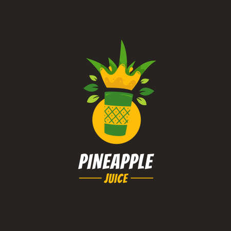 Fresh unique pineapple ananas smoothie juice logo in cultural ethnic style icon