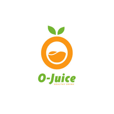 Letter O orange fruit juice logo icon symbol template